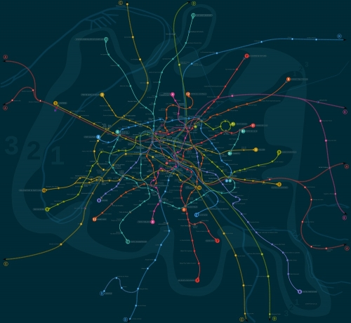 "Geographically accurate Paris metro map. Use the ""solarized"" color palette: http://ethanschoonover.com/solarized"